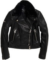 Superdry Leather Biker Jacket with Faux Fur Collar and Pockets