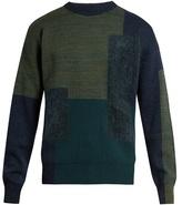 Oamc Paneled wool-blend crew-neck sweater