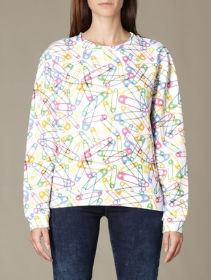 Moschino Crewneck Sweatshirt With All-over Safety Pins