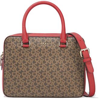 DKNY Sutton Logo-print Faux Textured-leather Shoulder Bag