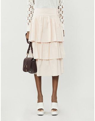 See by Chloe Ruffled high-waisted cotton skirt