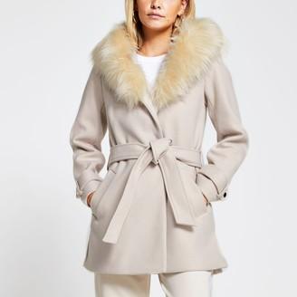 River Island Womens Petite Beige belted faux fur hood robe coat