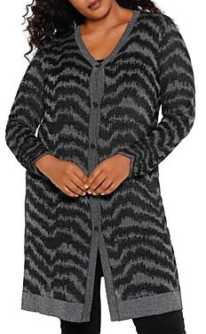 Belldini Plus Size Long Metallic Striped Cardigan
