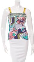 Blumarine Embellished Floral Print Top