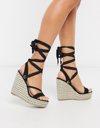 Miss Selfridge lace up espadrille wedges in black