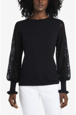 Vince Camuto Women's Paisley Lace Sleeve Sweater