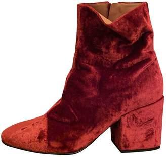Dries Van Noten Red Velvet Ankle boots