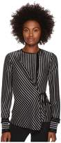 Yigal Azrouel Fringe Detailed Stripe Tuxedo Shirt Women's Clothing