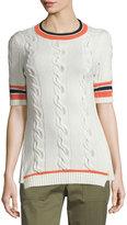3.1 Phillip Lim Collegiate Short-Sleeve Open-Back Sweater, White