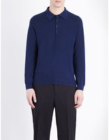 Sandro Textured Cotton And Silk-blend Polo Jumper