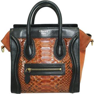 Celine Brown/Black Snakeskin Leather Suede Python Nano Luggage Tote Bag
