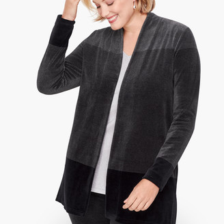 Talbots Luxe Velour Stripe Open Cardigan