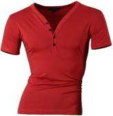 jeansian Men's Slim Fit Short Sleeves Casual Henleys Shirts D204 L [Apparel]