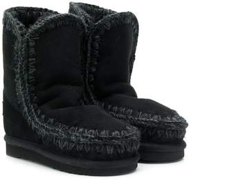 Mou Kids knitted trim eskimo boots