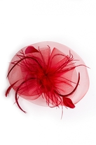 Quiz Red Large Feather Fascinator