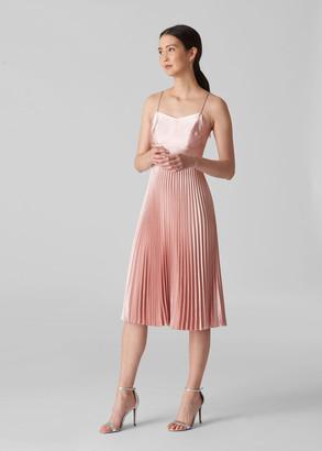 Satin Pleated Strappy Dress