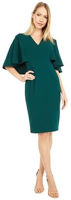 Calvin Klein V-Neck Sheath Dress with Cape Back (Malachite) Women's Dress