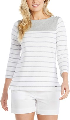 Nautica Women's Breton Striped 3/4 Sleeve Pure 100% Cotton Shirt