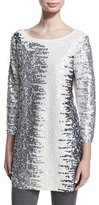 Joan Vass Sequined Boat-Neck 3/4 Sleeve Tunic, Petite