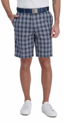 Haggar Men's Cool 18 Pro Stretch Windowpane Plaid Flat Front Straight Fit Expandable Waist Short