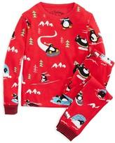 PJ Salvage Girls' Penguin Brushed Thermal Pajama Set