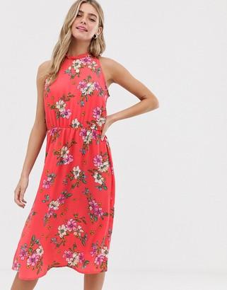 JDY floral high neck midi dress