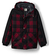 Lands' End Little Boys Fleece Lined Parka-Gray Dusk Buffalo Check