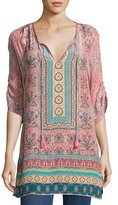 Tolani Evie Long Printed Tunic, Rose, Plus Size