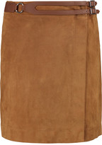 Derek Lam 10 Crosby Wrap-effect leather-trimmed suede mini skirt