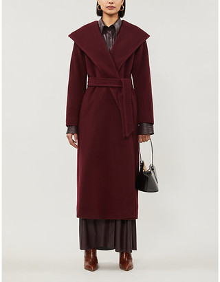 Max Mara Oblio belted hooded wool coat