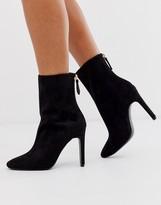 Asos Design DESIGN Enzo block heeled ankle boots in black