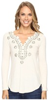 Lucky Brand Embellished Bib Top Women's Clothing