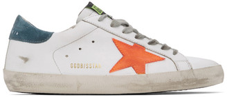 Golden Goose White and Orange Superstar Sneakers