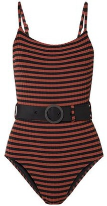 Solid & Striped The Nina Belted Striped Ribbed Swimsuit