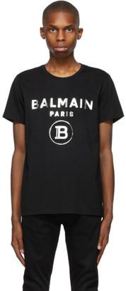 Balmain Black Foil Printed Logo T-Shirt