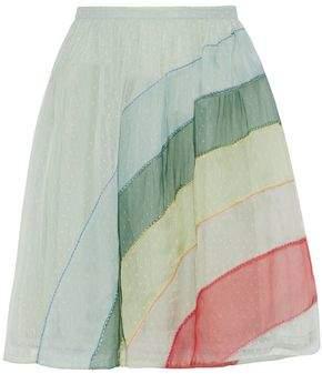 RED Valentino Silk Organza-paneled Striped Point D'esprit Mini Skirt