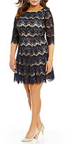 Jessica Howard Plus Round NEck 3/4 Sleeve Lace Fit-and-Flare Dress