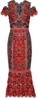 Marchesa Cold-shoulder Crocheted Maxi Dress
