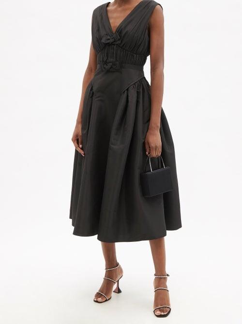 Thumbnail for your product : Self-Portrait Gathered Taffeta Midi Dress - Black