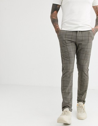 Jack and Jones slim fit stretch check trousers in grey