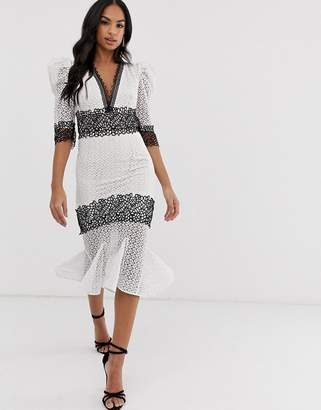 Bronx And Banco & Banco Elizabeth monochrome lace dress-White