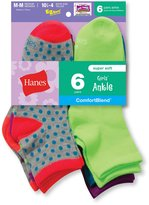 Hanes Girls' Fashion CofortBlend Ankle Socks 6-Pack
