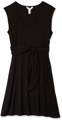Three Seasons Maternity Women's Maternity Sleeveless Solid Belted Dress Black Medium