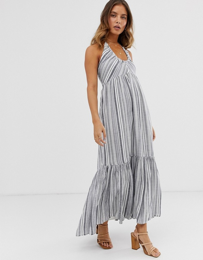 Free People Audrey striped halter dress