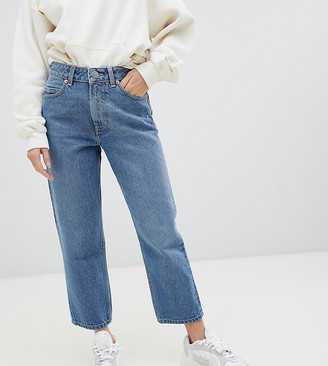 ASOS DESIGN Petite Recycled Florence authentic straight leg jeans in mid vintage blue