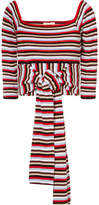 Isa Arfen Striped Cotton-jersey Wrap Top - Burgundy