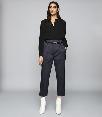 Reiss Hendrix - High Waisted Pleat Front Trousers in Dark Blue