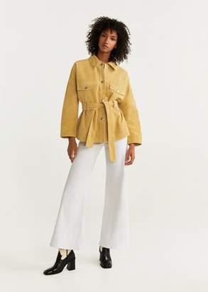 MANGO Pocket leather jacket beige - XS - Women