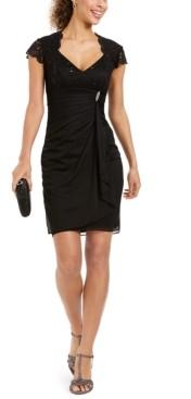 Betsy & Adam Petite Lace-Sleeve Sheath Dress