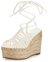 Chloé Caged Leather Espadrille Wedge Sandal, White